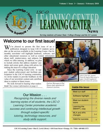 Welcome to our first issue! LSC-O - epressler - home