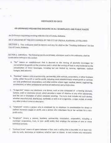 Ord. No. 00-2013 - Alabama Department of Public Health