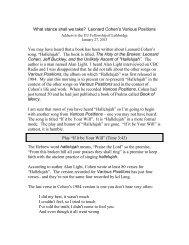 LEONARD COHENS GRANDPA Thesaurus of Talmudical Interpretations OZAR TAAMEI HAZAL