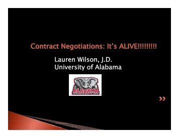 Contract Negotiations: It's ALIVE!!!!!!!!! - Office for Sponsored Programs