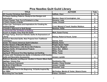 PNQG Library Holdings - Pine Needles Quilt Guild