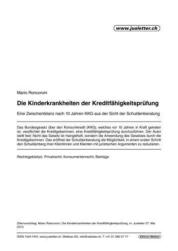 Die Kinderkrankheiten der Kreditfähigkeitsprüfung - Berner ...