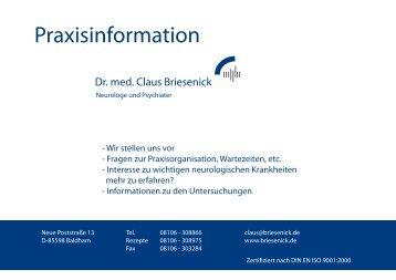 Praxisbroschüre bold und orange - Praxis Dr.med. Briesenick