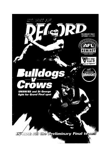 Sydney AFL Record - NSW Australian Football History Society Inc