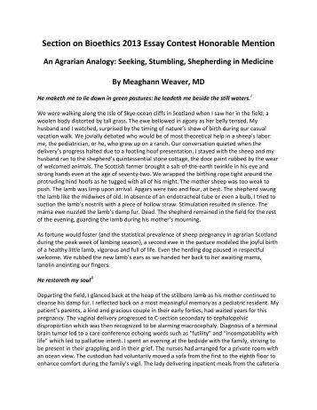 An Agrarian Analogy: Seeking, Stumbling, Shepherding in Medicine