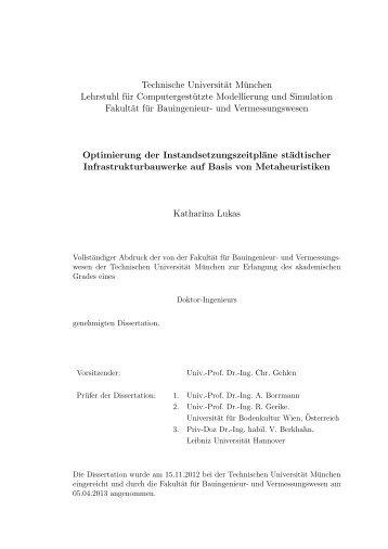Optimierung der Instandsetzungszeitpläne städtischer ...