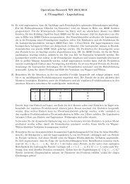 Operations Research WS 2013/2014 4. ¨Ubungsblatt - Lagerhaltung