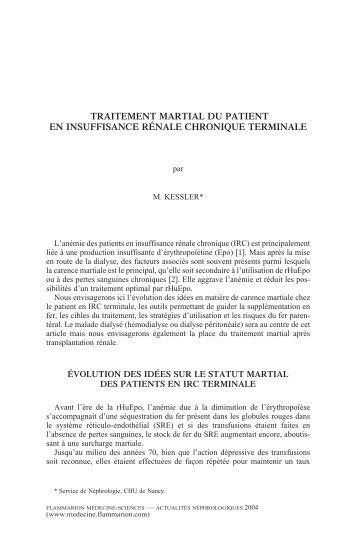 traitement martial du patient en insuffisance rénale chronique ...