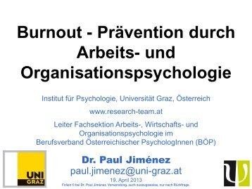 Burnout - Prävention durch Arbeits- und Organisationspsychologie
