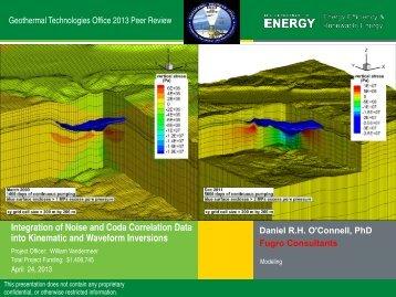 Integration of Noise and Coda Correlation Data into ... - EERE