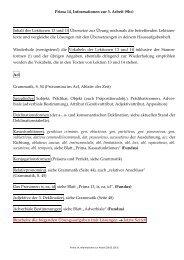 Prima 14, Informationen zur 3. Arbeit (9bc) Inhalt der Lektionen 13 ...