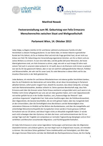 Rede von Manfred Nowak - Ludwig Boltzmann Institut für ...