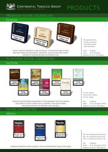 PRODUCTS - Continental Tobacco Corporation