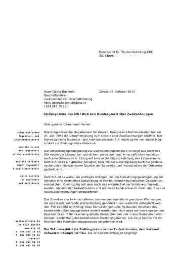 Stellungnahme Zweitwohnungsgesetz SIA FSU