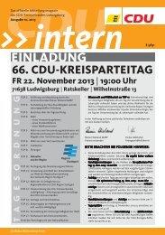 CDU Intern Ausgabe Oktober 2013 - CDU Kreisverband Ludwigsburg