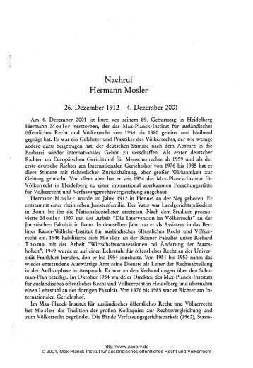 Nachruf Hermann Mosler 26. Dezember 1912 - Zeitschrift für ...