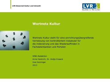 WNK – Wortnetz Kultur – ein Vorhaben des LVR-Kulturdezernates