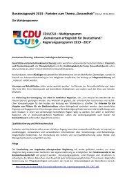 """Bundestagswahl 2013 - Parteien zum Thema """"Gesundheit"""" (Stand ..."""