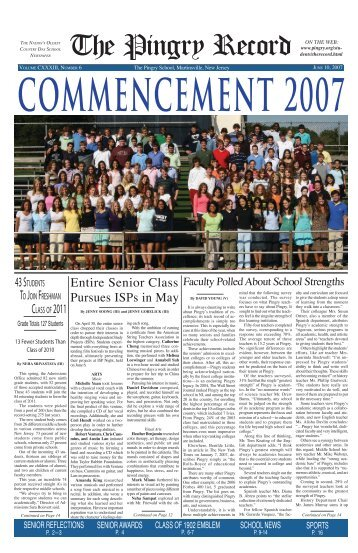 June 10, 2007 - Pingry School