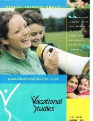 1999 brochure - Vacational Studies