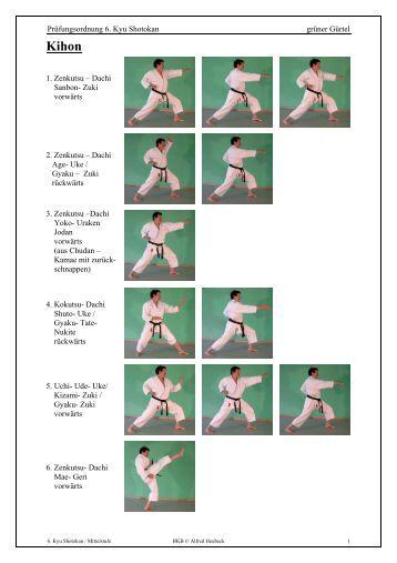 Prüfungsordnung 6. Kyu Shotokan grüner Gürtel 1. Zenkutsu ...