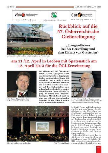 Rückblick auf die 57. Österreichische Gießereitagung - Verein ...