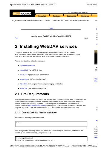 Apache based WebDAV with LDAP and SSL HOWTO