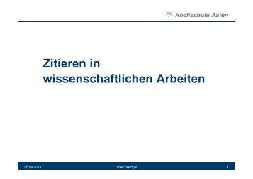 Zitieren in wissenschaftlichen Arbeiten - Hochschule Aalen