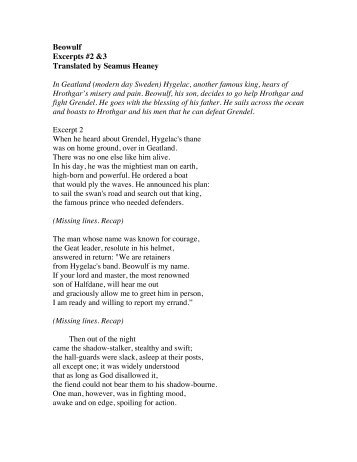 An analysis of the poem beowulf translated by seamus heaney
