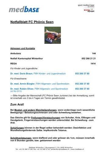 Notfallblatt HC Rychenberg Junioren - fc phoenix
