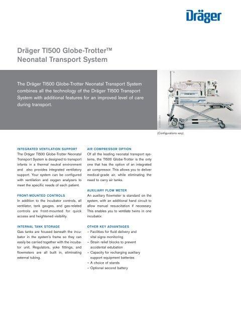 Dräger TI500 Globe-Trotter™ Neonatal Transport System (PDF)