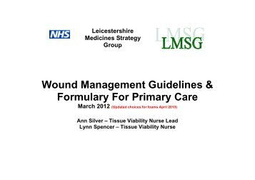 Wound Management Guidelines & Formulary For Primary Care