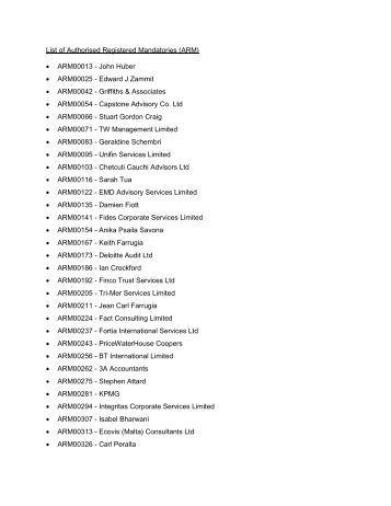 List of Authorised Registered Mandatories (ARM) • ARM00013 ...