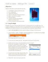 EAST on Adobe   InDesign CS6   Lesson 2 - Mann Magnet