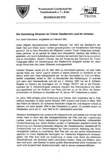 fÜ? Westdeutsche Gesellschaft für - Ä Familienkunde e. V ... - Trier