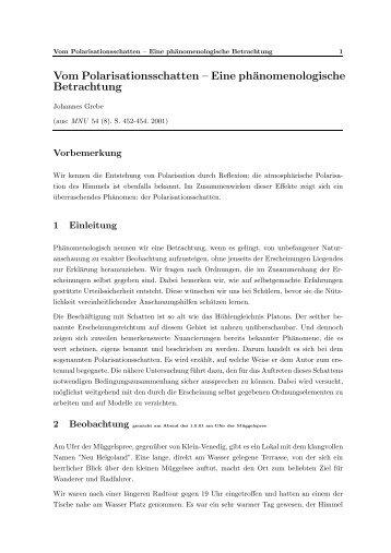 Vom Polarisationsschatten – Eine phänomenologische Betrachtung