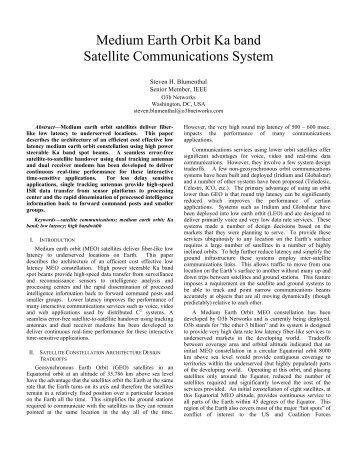 Medium Earth Orbit Ka band Satellite ... - O3b Networks