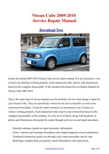 Nissan Cube 2009-2010 Service Repair Manual