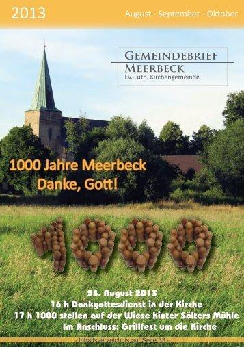 1000 Jahre Meerbeck Danke, Gott! - Ev.-Luth. Kirchengemeinde ...