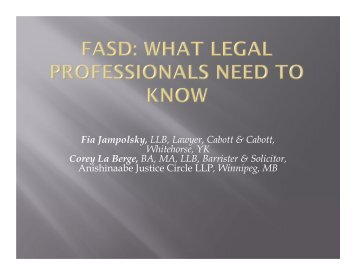 FASD: What Legal Professionals Need to Know - UBC ...