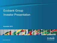 Ecobank Group Investor Presentation - November 2013