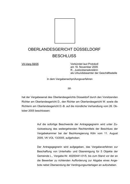 oberlandesgericht düsseldorf beschluss - Oeffentliche Auftraege