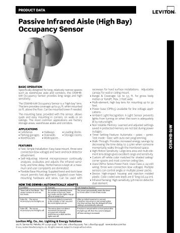 passive Infrared ceiling occupancy Sensor with Isolated relay - Leviton