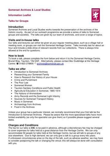 talks leaflet - PDF version - Somerset County Council