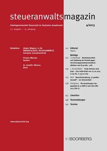 steueranwaltsmagazin 4/2013 - Wagner-Joos Rechtsanwälte