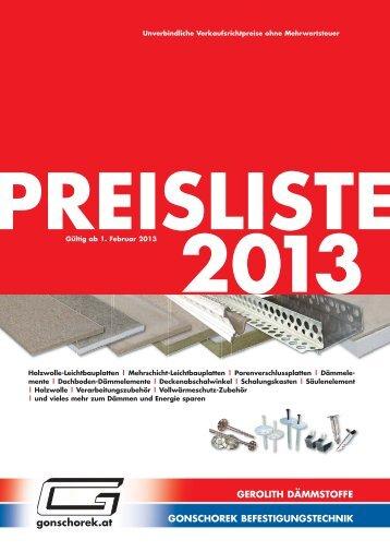 Produkte / Preisliste - Gonschorek GmbH