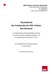 Haushaltsrede 2012 - SPD Ortsverein Hürth