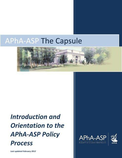 APhA ASP Capsule American Pharmacists Association