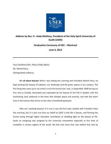 Address by Rev. Fr. Hady Mahfouz, President of the Holy Spirit ...
