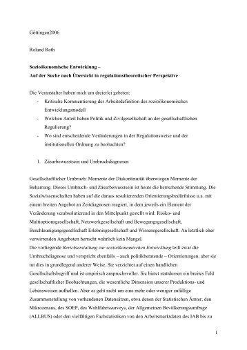 Göttingen2006 Roland Roth Sozioökonomische Entwicklung - soeb.de